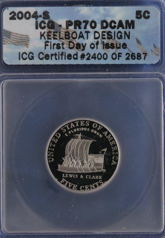 12: 2004-S - 5C Keelboat Design Nickel. ICG PR70 DCAM.