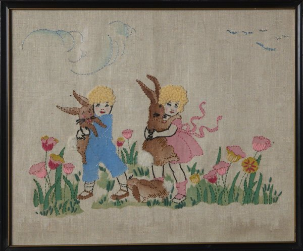14: Easter Needle Point with Children & Bunnies