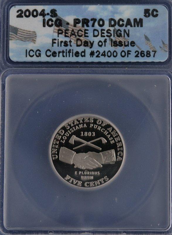 15: 2004-S - 5C Peace Design Nickel. ICG PR70 DCAM.