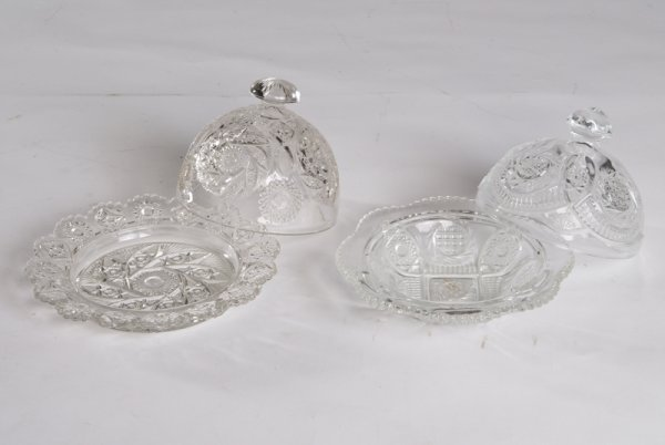 22: 2 Pressed Glass Covered Butter Dishes