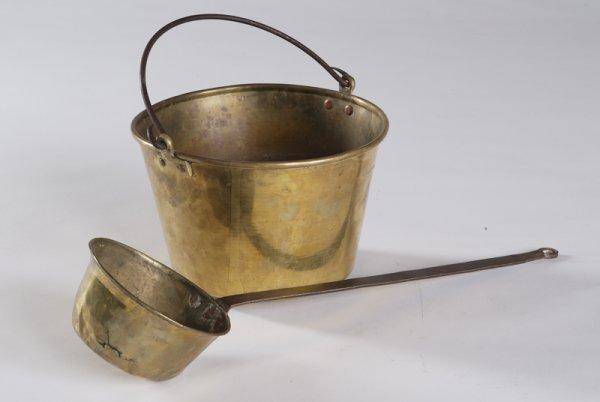 23: Copper Bucket & Copper Dipper, 19th Century