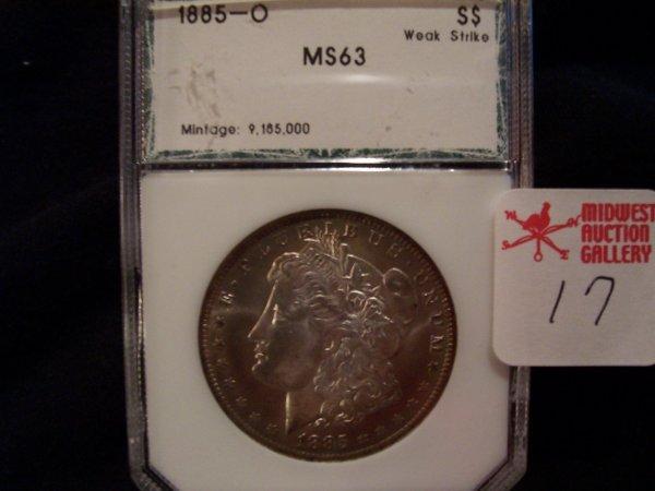 17: Morgan Silver Dollar, 1885 O