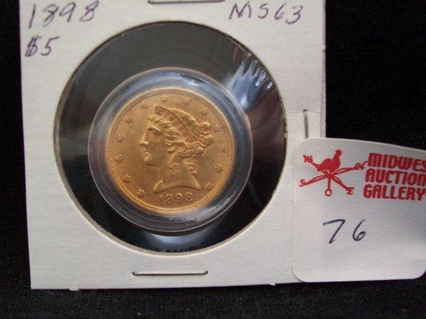 76: Gold $5 Dollar Coin, 1898