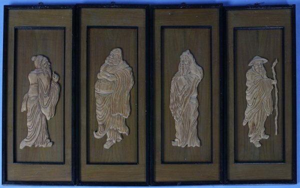 23: 4 Mid 20th Century Chinese Wood Carved Relief's