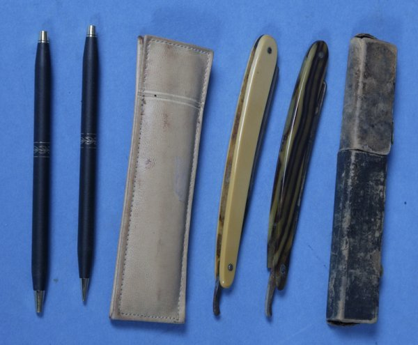 405: 2 Vintage Straight Razors & Pen Set