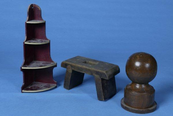 410: 3 Antique Wooden Primitive Items