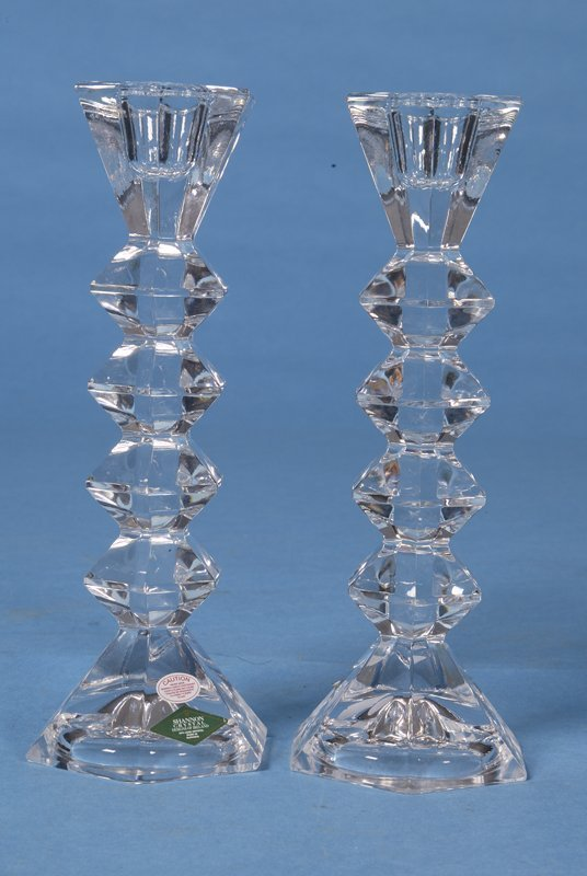 424: Pair of Late 20th C. Shannon Crystal Candlesticks