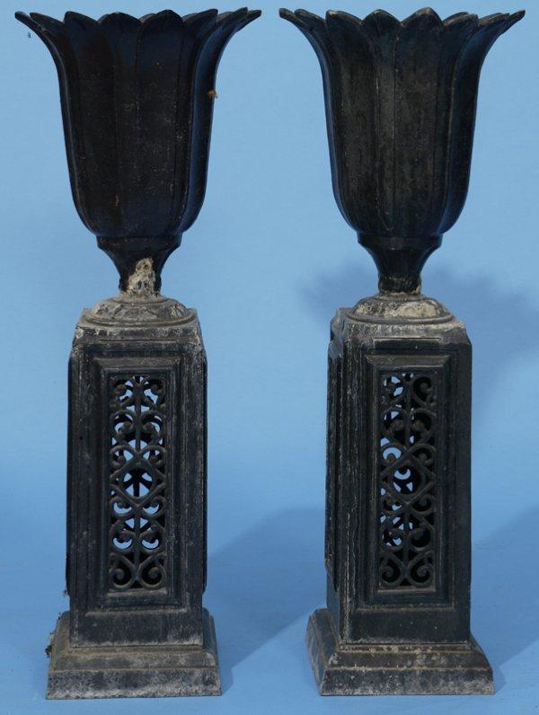 2: Pair of early cast garden urns