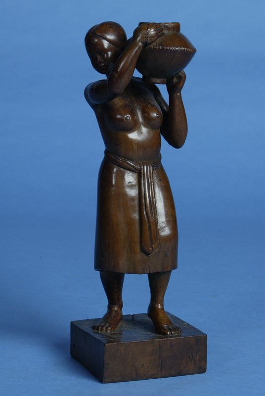 14: Circa 1940 Hand Carved Mahogany Tribal Female Water