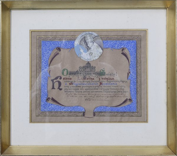 15: Dated 1955 Hand Painted Vatican Certificate