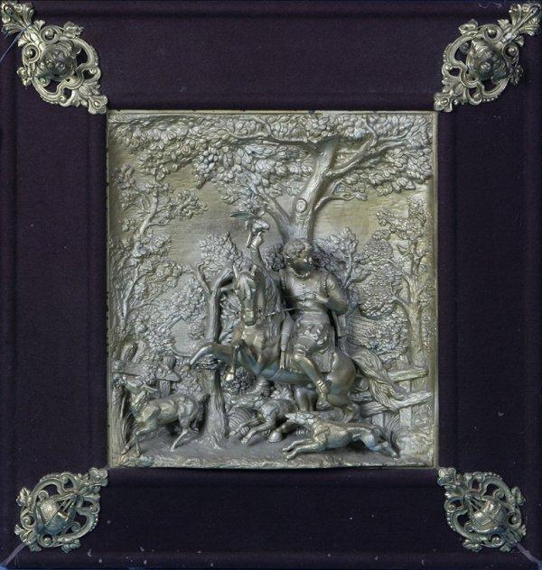 83: Circa 1880 Austrian Spelter Plaque of a Huntress