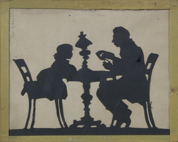 3: Dated 1934 Hand Cut Paper Silhouette Under Glass
