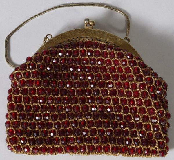5: Circa 1960 Red Plastic Beaded Ladies Purse