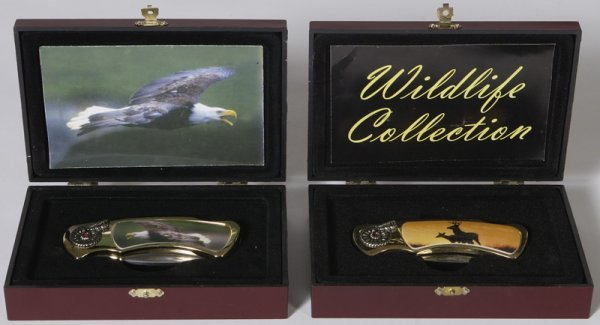 9: Lot of 2 Contemporary Wildlife Collectors Knives in