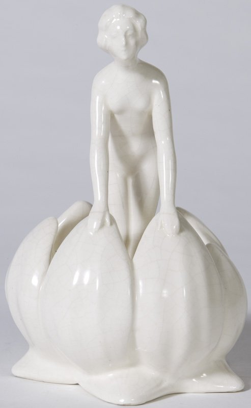 10: Circa 1920 German Pottery Flower Frog with Nude