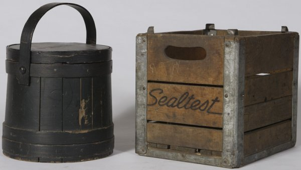 15: Painted Pine Firkin & Seal Test Milk Delivery Crate