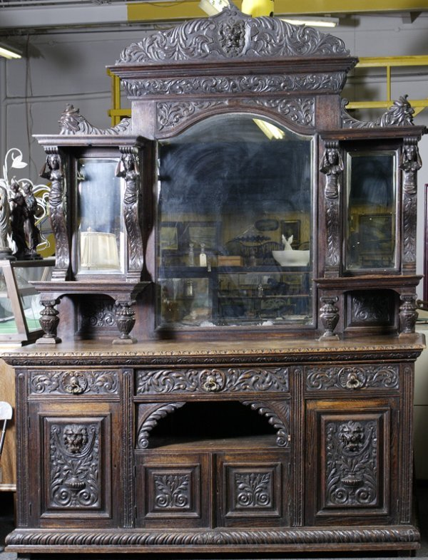 19: Mid 19th C. Heavily Carved English Oak Sideboard