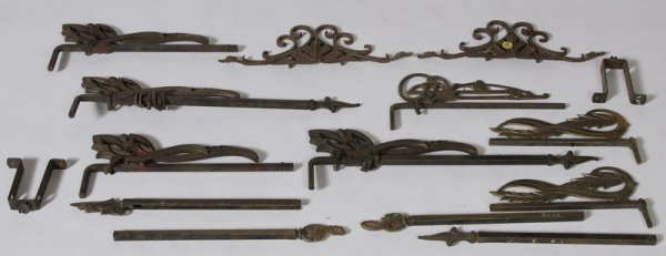 322: Group of Circa 1920 Cast Iron Curtain Support Brac