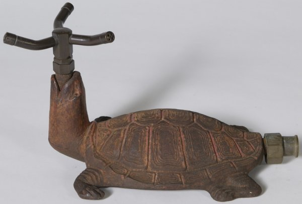 342: Circa 1930 Cast Iron Turtle Figural Lawn Sprinkler