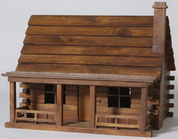 1162: Handmade Childs Log Cabin Doll House
