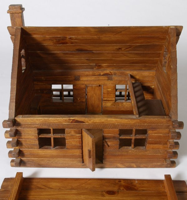 1162: Handmade Childs Log Cabin Doll House - 3