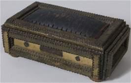 1290 Dated 1901 Tramp Art Chip Carved Dresser Jewel B