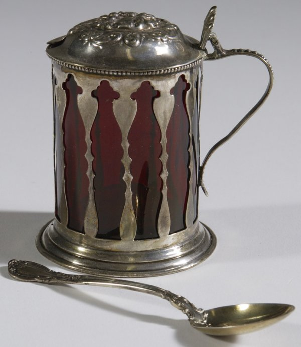 1028: Late 19th C.Sterling Silver Handled Mustard Pot
