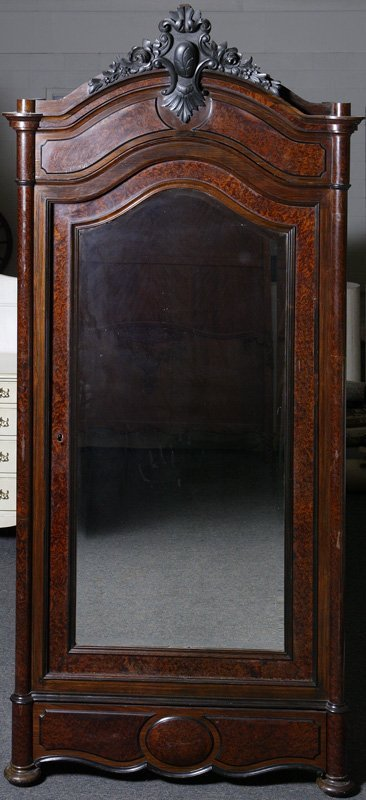 1019: Late 19th C. French Rosewood & Burl Wardrobe