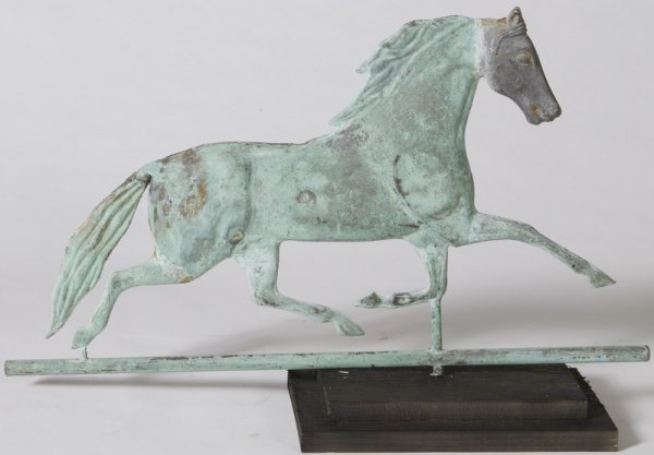 1022: Late 19th C. Copper Running Horse Weathervane