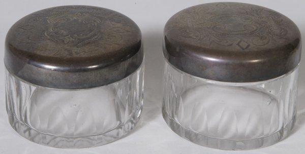 1324: 2 Circa 1910 Ladies Cut Crystal Vanity Jars