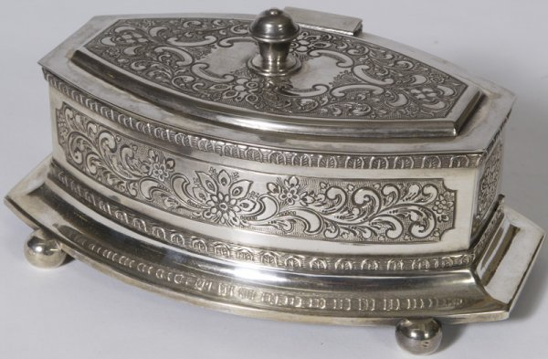 1328: Mid 20th C. Antique Style Silver-plate Ladies Jew