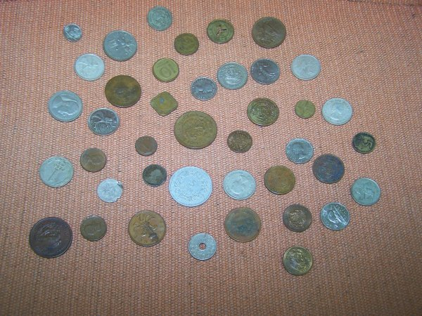 1332: Box Lot of 41 Misc. Coins & Game Tokens