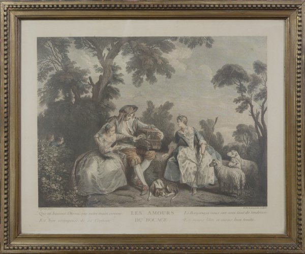 1335: 18th C. French Style Hand Tinted Lithograph