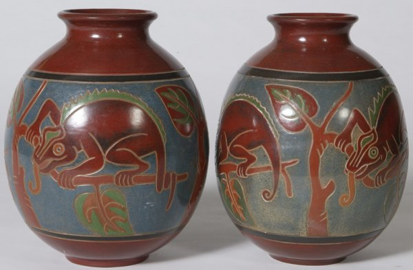 1338: Pair of Contemporary Peruvian Pottery Vases