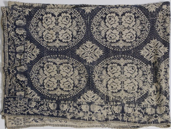 1340: Dated 1847 American Blue & White Jacquard Coverle