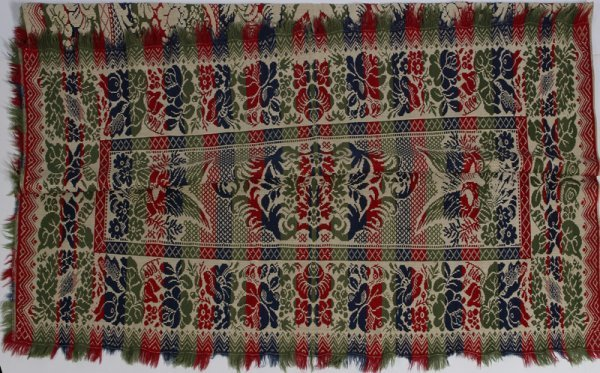 1341: Mid 19th C. American Jacquard Coverlet with Eagle