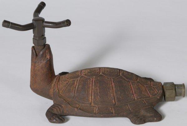 1342: Circa 1930 Cast Iron Turtle Figural Lawn Sprinkle
