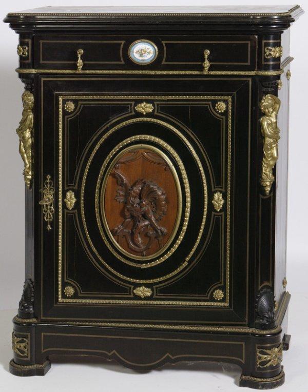 1391: Ebonized Porcelain & Ormolu Mounted Side Cabinet