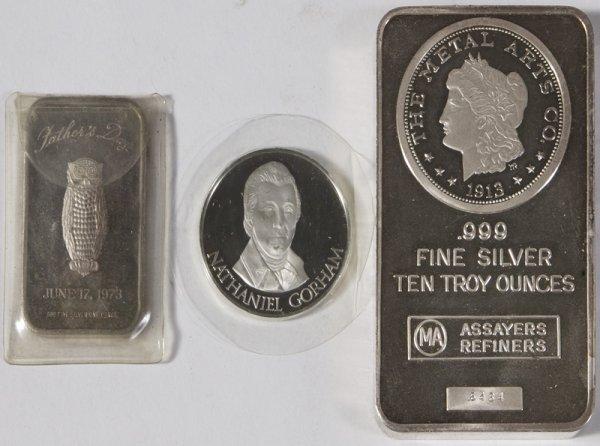 1575: Lot of 3 Silver Bars; 1 - 10oz.; 1 - 1oz. & 1 - 1