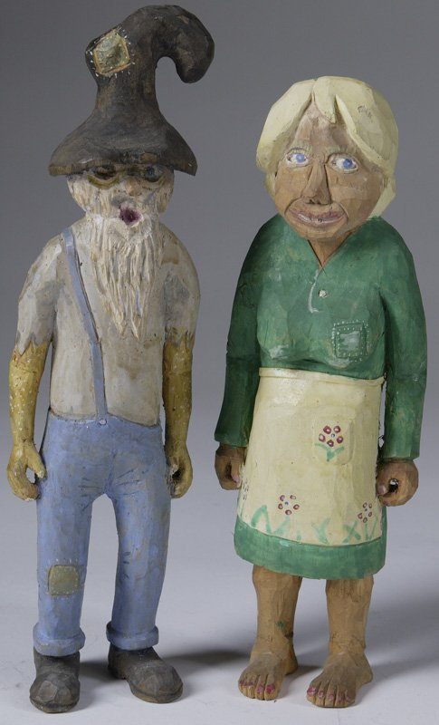 3: Pair of 1976 Hand Whittled Appalachian Couple Figure