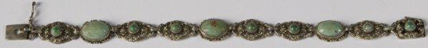 5: Antique Jade And Sterling Bracelet,  19thCentury