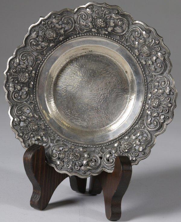 7: Early 20th C. Silver Reposse' Circular Tray