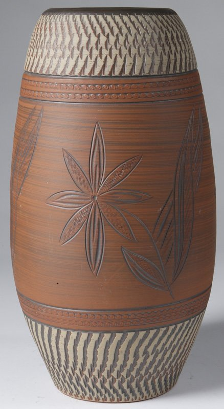 9: Exceptional Handmade Red Tile Pottery Floor Vase
