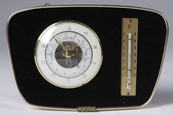 10: Late 1950's Wall Mounted Barometer Thermometer Unit