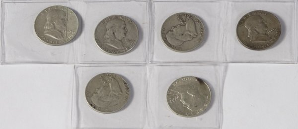 11: Beginners Collection Lot of 6 Franklin Half Dollars