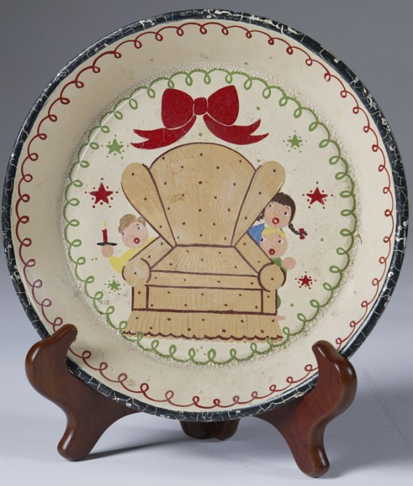 13: 19thC Hand Painted Childs Tin Christmas Plate