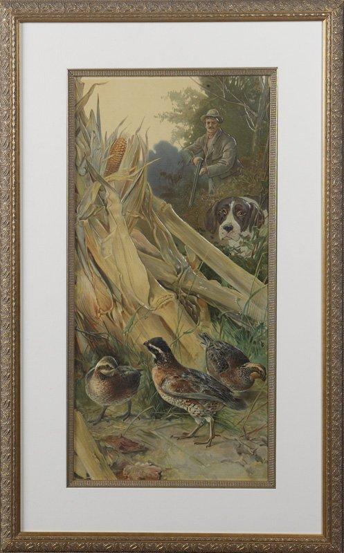 14: Hunting Scene with Birds, Hunter and Dog, Custom Fr
