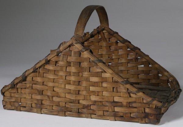 16: C. 1900 Handmade Oak Splint Gathering Basket