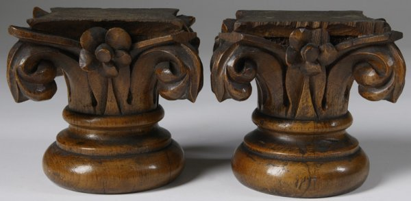 20: Pair of Late 19th C. Nicely Carved Column Capitals