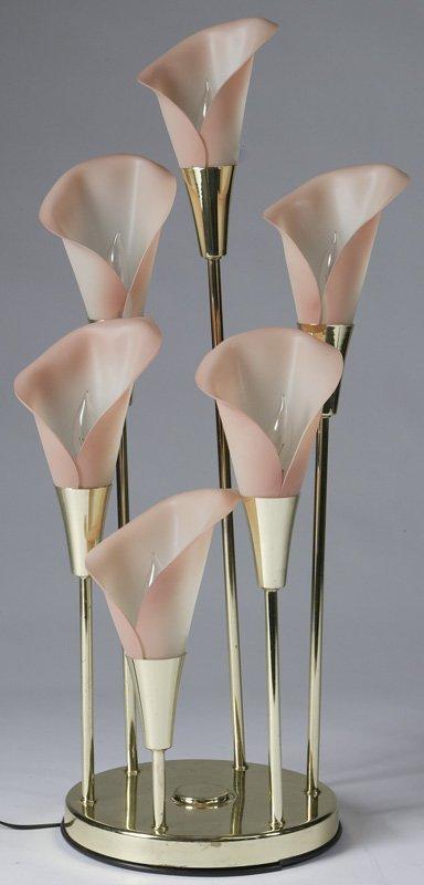 21: Very Nice Flower Form Six Light Table Lamp C1960